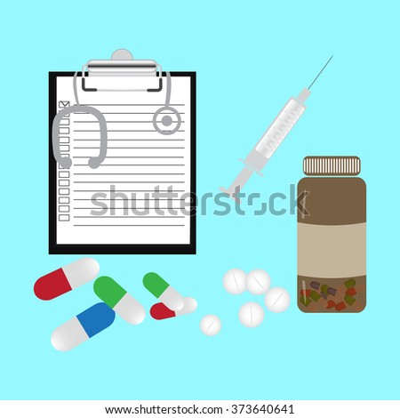 Medicine pills stethoscope. Pill and aid, pharmacy and drug capsule.  Icon.  Isolated on a colored background. Vector illustration.