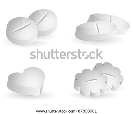 Medicine pills, various shapes, white background - stock vector