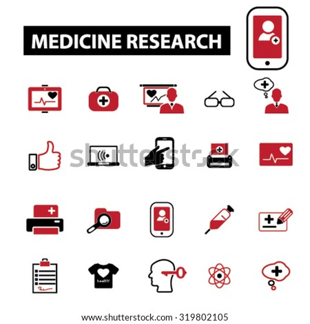 medicine research icons - stock vector