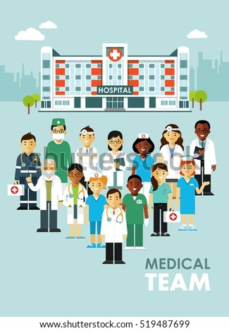 Medicine team concept with doctor and nurses in flat style isolated on hospital background. Practitioner young doctors man and woman standing together. Medical staff.