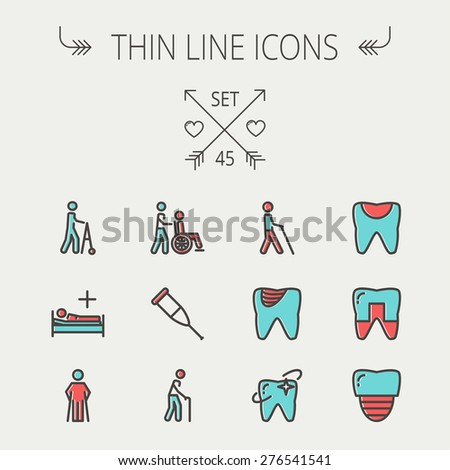 Medicine thin line icon set for web and mobile. Set include- tooth, crutches, walker, injured person, sick person icons. Modern minimalistic flat design. Vector icon with dark grey outline and offset - stock vector