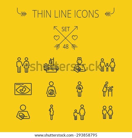 Medicine thin line icon set for web and mobile. Set includes-nurse, baby, family, pregnant, mother icons. Modern minimalistic flat design. Vector dark grey icon on light grey background. - stock vector