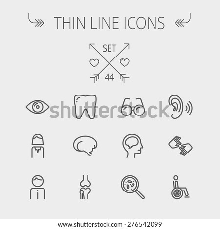 Medicine thin line icon set for web and mobile. Set includes- tooth, eye, ear, hands, bone, brain, human icons. Modern minimalistic flat design. Vector dark grey icon on light grey background. - stock vector