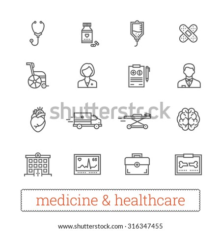 Medicine thin line icons: medical services, ambulance, health care tools, diagnostic equipment, pharmacology, reanimation, outpatient treatment. Vector elements for web, mobile, applications, prints. - stock vector