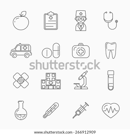 Medicine thin line icons. Patch and cardiology, tooth and apple, vector illustration - stock vector