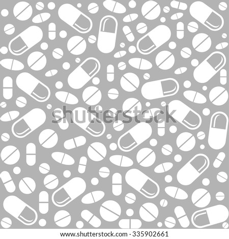 Medicine vintage seamless pattern. background made from pills and capsules. Vector Illustration - stock vector