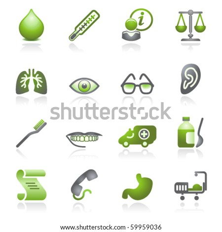 Medicine web icons. Gray and green series. - stock vector