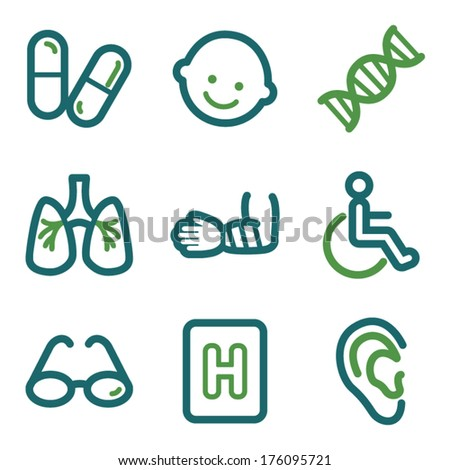 Medicine web icons, green line set - stock vector