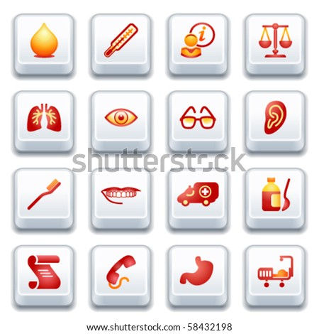 Medicine web icons. Red and yellow series. - stock vector