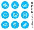 Medicine web icons set 2, blue sticker series - stock vector