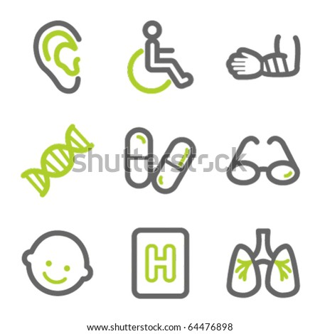 Medicine web icons set 2, green and gray contour series - stock vector