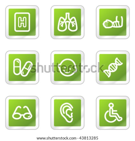Medicine web icons set 2, green square sticker series - stock vector