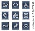 Medicine web icons set 2, navy stamp series - stock vector