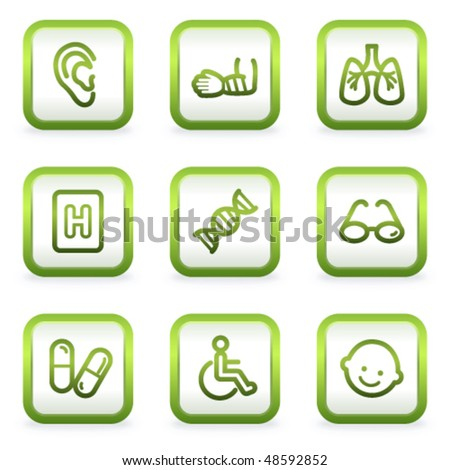 Medicine web icons set 2, square buttons, green contour - stock vector