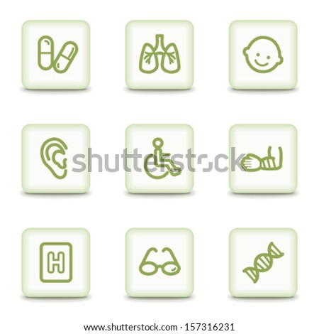 Medicine web icons set 2, white glossy buttons - stock vector