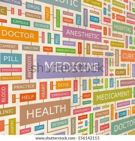 MEDICINE. Word cloud illustration. Tag cloud concept collage. Vector text illustration.  - stock vector