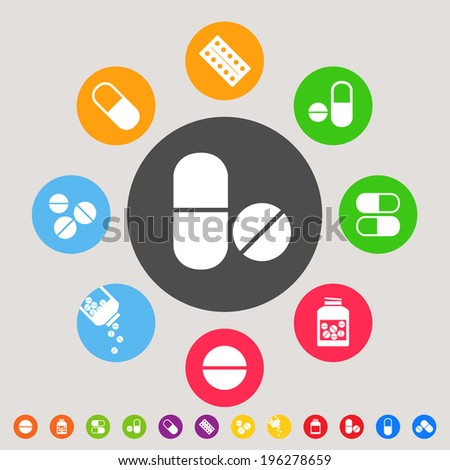 Medicines - colorful vector icon collection - stock vector