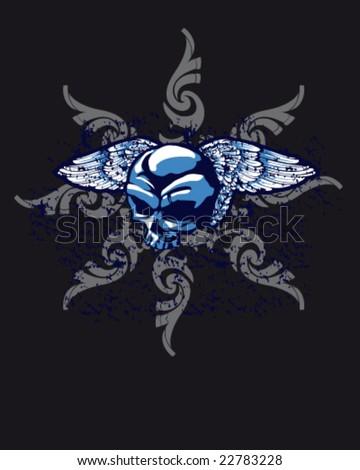 medieval and heraldic design in skull for shirt, winged skull - stock vector