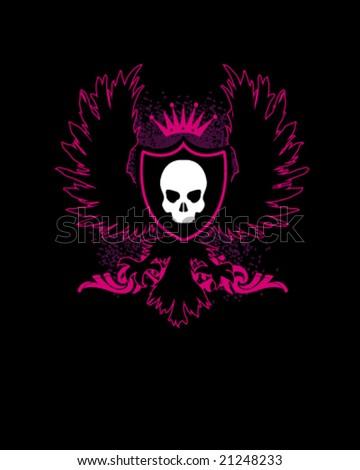 medieval and heraldic logo in skull for shirt - stock vector