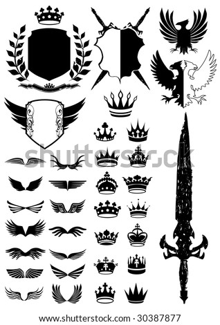 Medieval and royal design elements collection - stock vector
