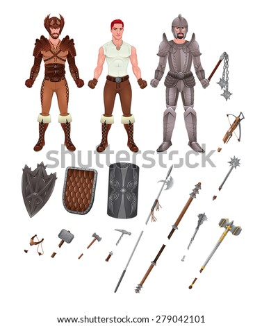 Medieval avatar with armors and weapons. Isolated objects, vector illustrator  - stock vector