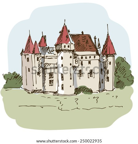 Medieval castle colorful sketch. Vector illustration. - stock vector