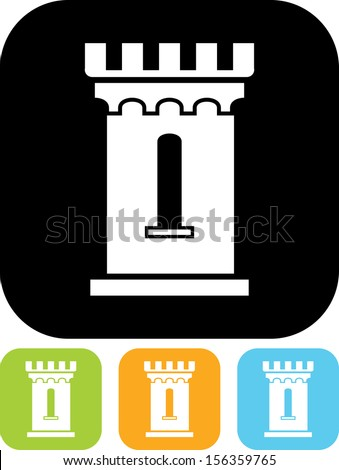 Medieval castle tower vector icon  - stock vector