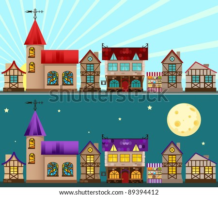 Medieval city day and night. Vector illustration