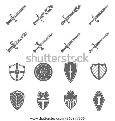 Medieval crusader heraldic battle shields and historic  templar knights long steel swords black abstract isolated vector illustration - stock vector
