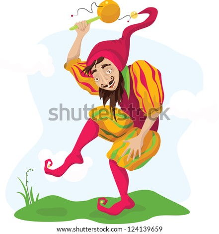 Medieval detailed fool dancing with rattle - stock vector
