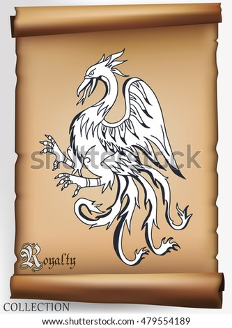 Medieval drawings of animals on old scroll. Vector illustration.