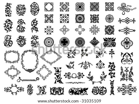 Medieval elements isolated on white. Vector illustration. - stock vector