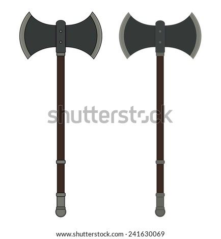 Medieval executioner double-sided ax. Color vector clip art illustration isolated on white  - stock vector