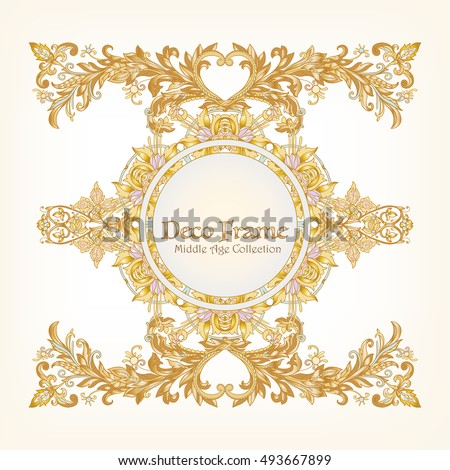 Medieval floral royal pattern with space for text. Decorative symmetry arabesque. Gold on white background. Good for greeting card for birthday, invitation or banner. Vector illustration.