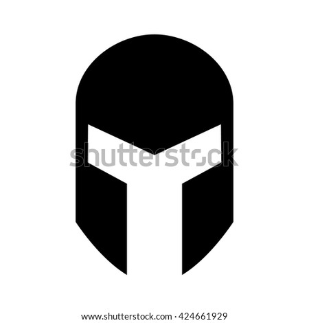 Medieval gladiatorial helmet headgear flat icon for games and websites - stock vector