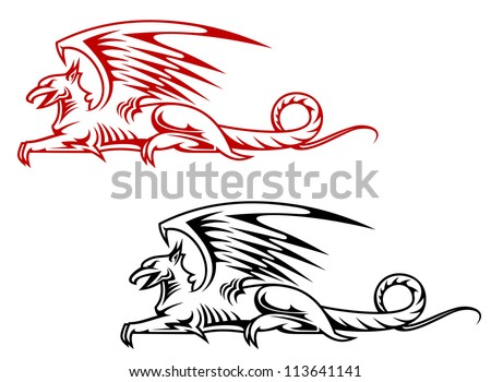 Medieval griffin monster for heraldry design isolated on white background, such a logo template. Jpeg version also available in gallery - stock vector