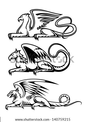 Medieval gryphons set for tattoo, mascot or heraldry design. Jpeg (bitmap) version also available in gallery - stock vector