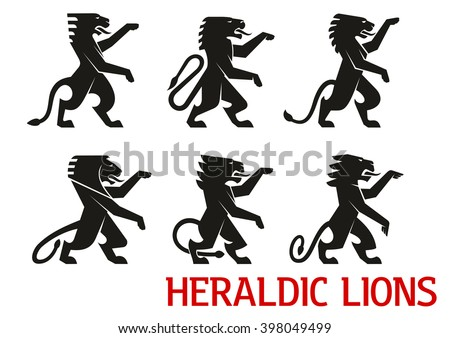 Medieval heraldic lion symbols with black silhouettes of standing lions with raised forepaws. Heraldry theme, coat of arms or vintage embellishment design - stock vector