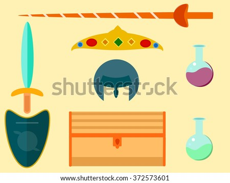 Medieval icon set. Vector illustration - stock vector
