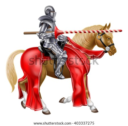 Medieval jousting knight on a horse holding a lance - stock vector