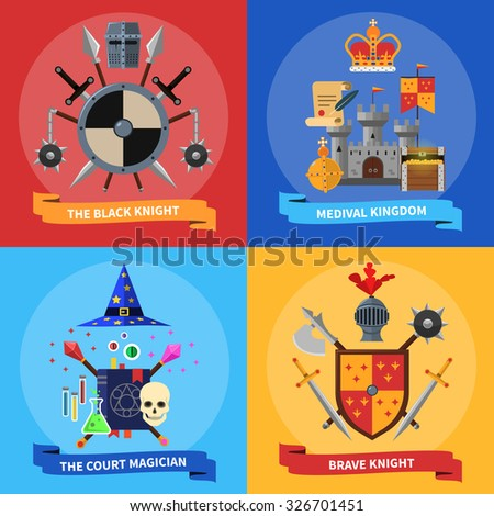 Medieval kingdom armored knights warriors and court magician 4 flat icons square banner abstract isolated vector illustration - stock vector