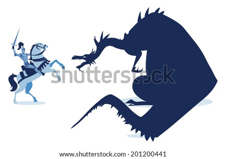 Medieval knight and dragon - illustration - stock vector