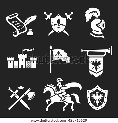 Medieval Knight armor and swords icon set - stock vector