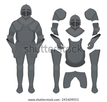 Medieval knight armor set. Helmet, shoulders, gloves, breastplate, leggings. Color clip art vector illustration isolated on white - stock vector