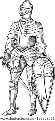 Medieval knight. Black and white vector illustration. - stock vector
