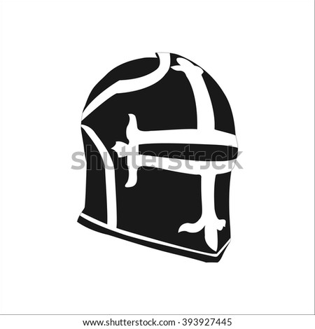 Medieval knight helmet simple icon on colorful white background - stock vector