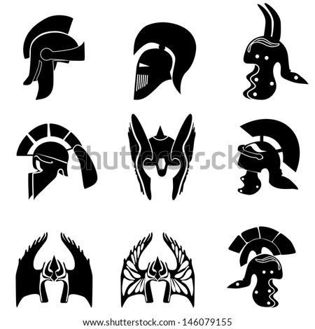 Medieval knight  helmets. Vector illustration - stock vector