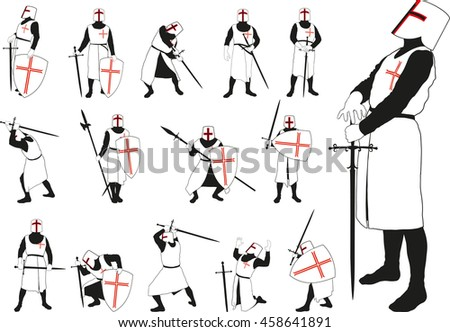 Medieval knight in armor and helmet in different defensive and offensive positions