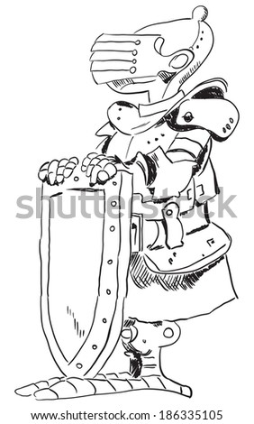 Medieval knight in armor with a shield. Cartoon drawing. - stock vector