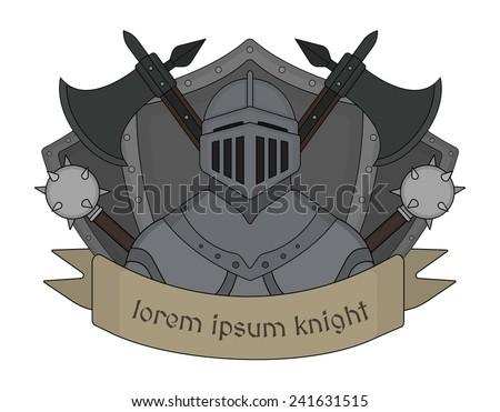 Medieval knight logo. Helmet, armor, mace, ax, shield, sign. Vector clip art illustration isolated on white - stock vector